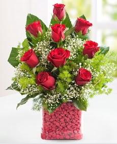 Cam içerisinde 9 adet kırmızı gül  Trabzon hediye sevgilime hediye çiçek