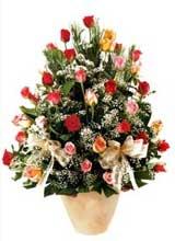 91 adet renkli gül aranjman   Trabzon internetten çiçek satışı