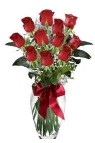 11 adet kirmizi gül vazo mika vazo içinde  Trabzon çiçek yolla , çiçek gönder , çiçekçi