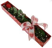 Tek kirmizi gül kutu içerisinde  Trabzon çiçek , çiçekçi , çiçekçilik