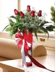 Camda 5 kırmızı gül tanzimi  Trabzon çiçek siparişi vermek