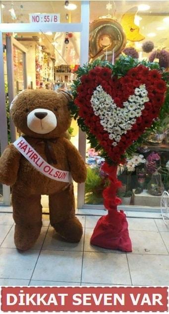 1.5 Metre peluş ayı ve Kalp  Trabzon internetten çiçek satışı