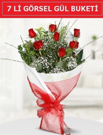 7 adet kırmızı gül buketi Aşk budur  Trabzon online çiçek gönderme sipariş
