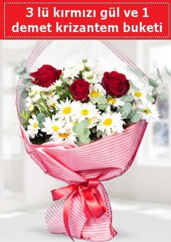 3 adet kırmızı gül ve krizantem buketi  Trabzon internetten çiçek satışı